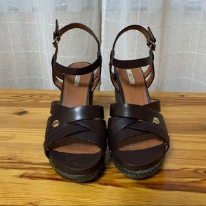 Geox chocolate brown wedge sandals